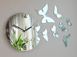Стикеры круг с бабочками часы зеркальные серебро