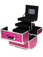 """Чемодан для визажиста с односторонним открываем """"Matte Series"""", розовый"""