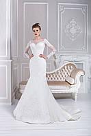 Утонченное свадебное платье русалка, расшитое цветочными аппликациями