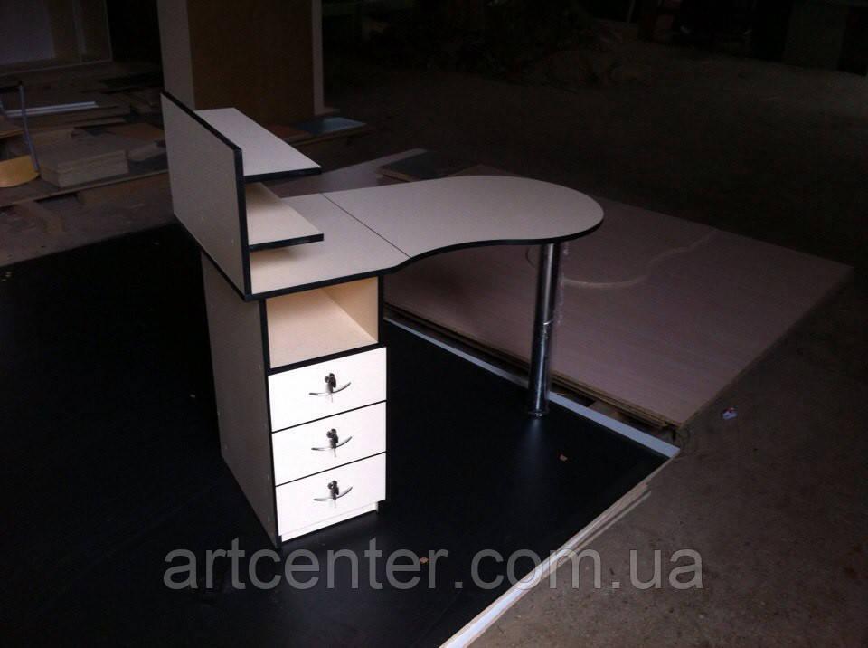 Маникюрный стол Стандарт, складной с ящиками и полочками для лаков для салона красоты, работе на дом