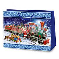Новогодний картонный подарочный пакет BigL - Паровоз