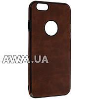 Накладка силикон (кожанная) для iPhone 6 коричневый