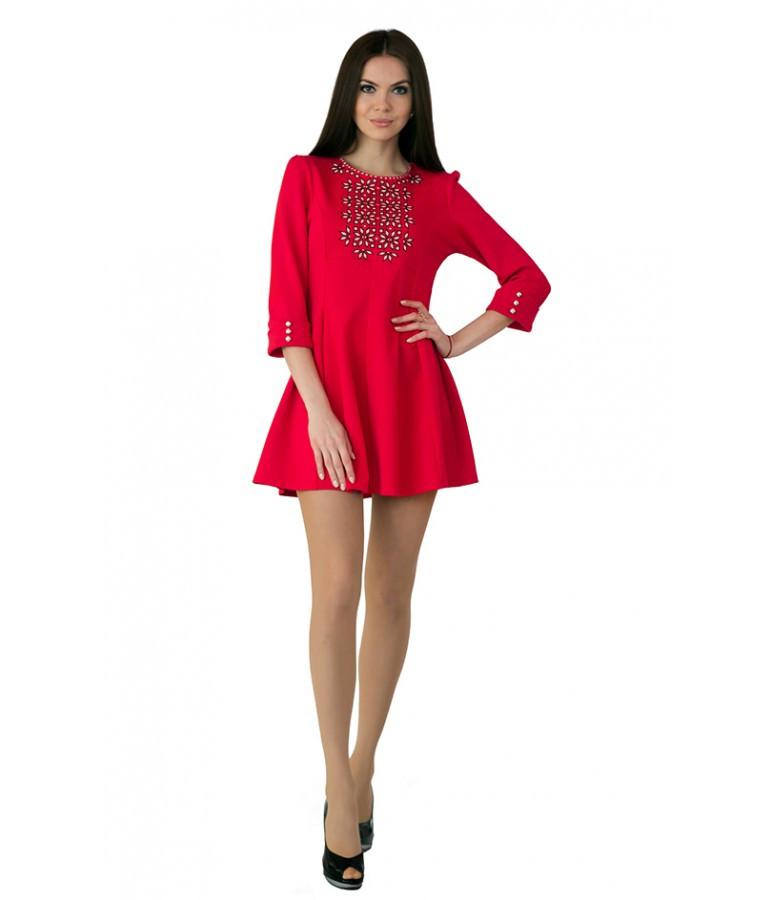 Платье вышитое женское В1040