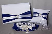 Свадебный набор аксессуаров (книга пожеланий, подушечка для колец, подвязка)