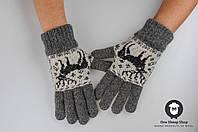 Шерстяные перчатки, серые перчатки, перчатки из ангорки, перчатки с оленями