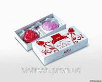 Подарочный набор дизайнерского глицеринового мыла ручной работы «СЕРДЦА» + бальзам для губ Роза