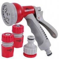 Пистолет-распылитель для полива 8-ми функциональный (центральный, туман, душ, угловой, полный, проливной дождь, конический, плоский.) + Адаптер универ