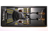 Подтяжки кожаные серые с желтым 'Topgal EXCLUSIVE'
