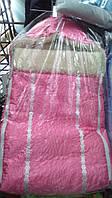 Зимний конверт для новорожденных на овчине розовый