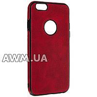 Накладка силикон (кожанная) для iPhone 6 красный