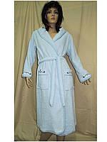 Халат жіночий махровий бавовна довгий Ramel блакитний, фото 1