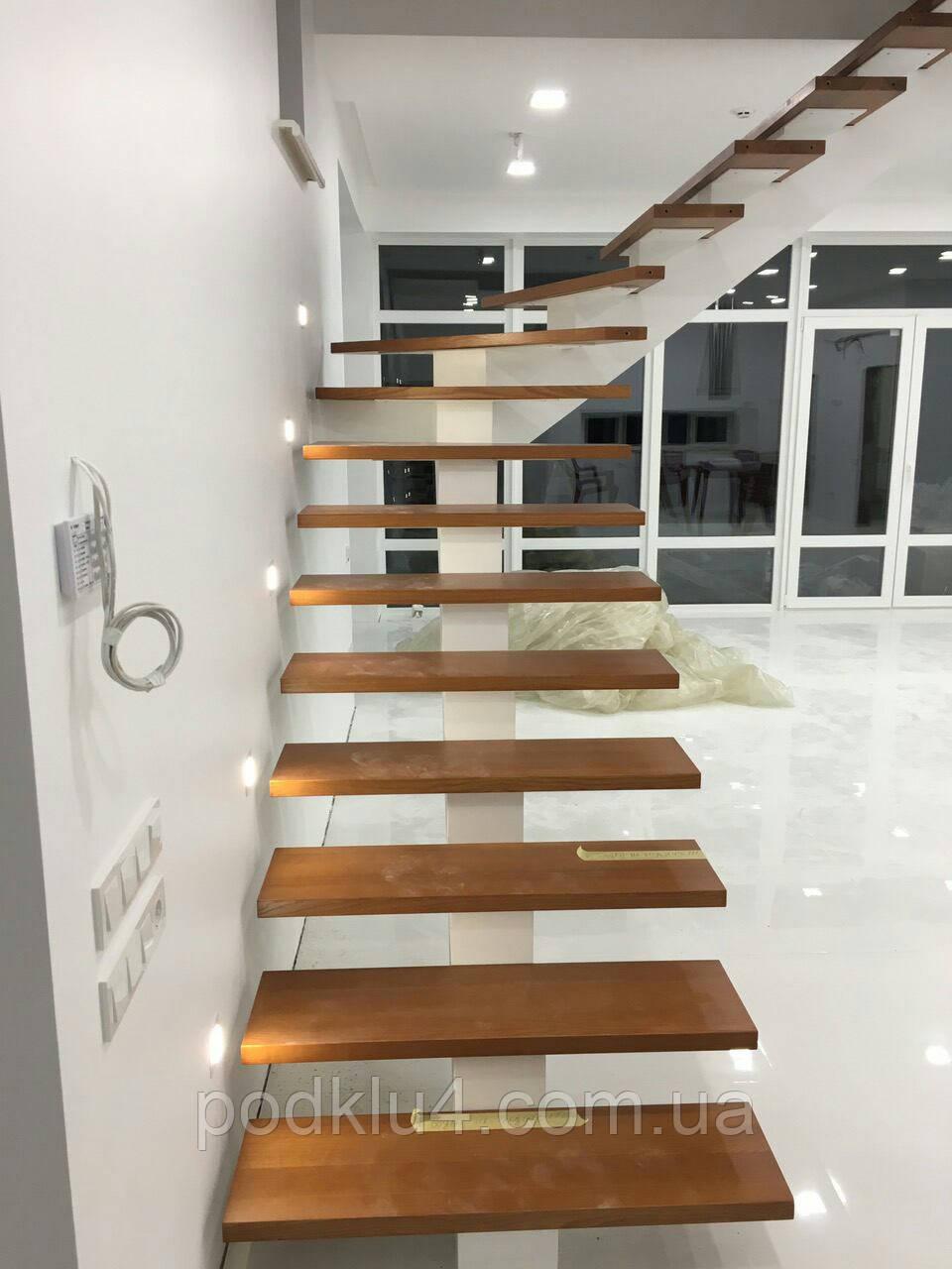 Лестницы на прямом косоуре обшитые деревом