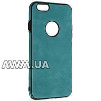 Накладка силикон (кожанная) для iPhone 6 голубой