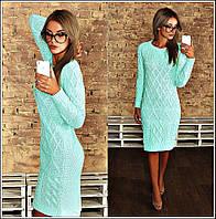 Теплое вязаное платье, сзади удлиненное