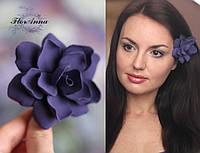 """""""Фиолетовая гардения"""" авторская заколка ручной работы, фото 1"""