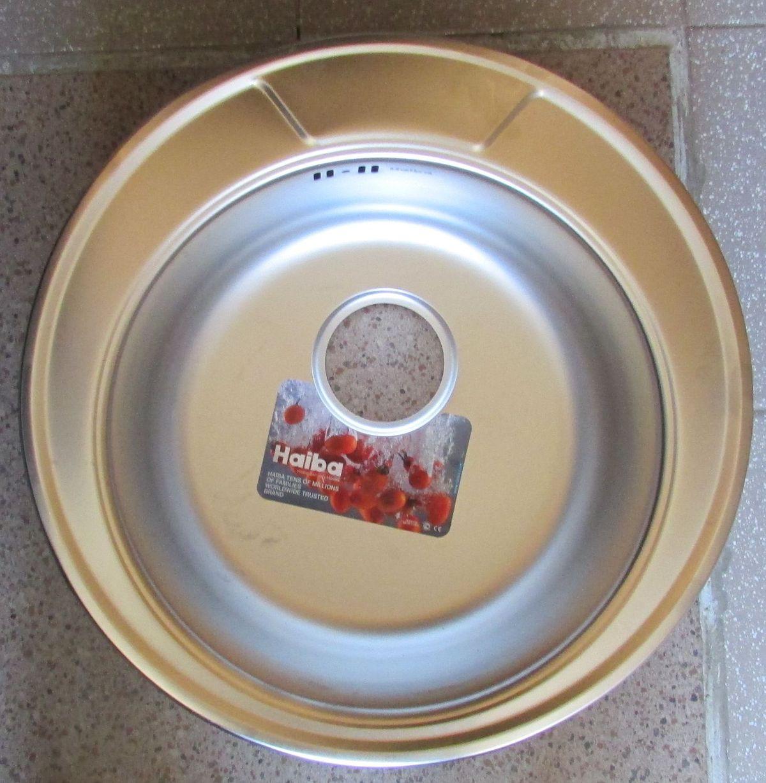 Мойка кухонная HAIBA круг satin 490 мм, толщина 0,8 мм+сифон ф110