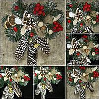 """Новогоднее украшение (на двери),""""Шишки с колокольчиками"""" 95/75,  40 см"""