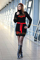 Вязаное платье Веночек черный+красный 42-48