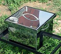 Коптильня с гидрозатвором для горячего копчения 2х ярусная  300х300х200 с термометром