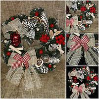 """Новогоднее украшение - венок (на двери),""""Зимняя мелодия"""" 195/170,  35-40 см"""