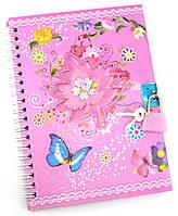 Блокнот с замком для девочек розовый (2 ключа)(18х13,5х1 см)