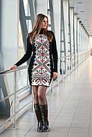 Вязаное платье Ольга черный+красный 42-48