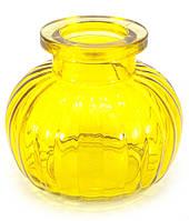 Колба для кальяна стекло желтая (9х9х9 см)(внутренний d-4 см)