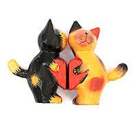 Кошки пара с сердечком дерево (13,5х8х3 см)