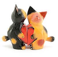 Кошки пара с сердечком дерево (15х11х4,5 см)
