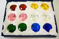 Кристаллы хрусталь (н-р 12 шт)(d-3 см упаковка 18х14х4 см))