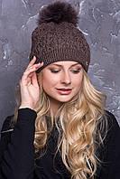 """Вязаные шапочки с помпоном из натурального меха """"Тереза""""."""