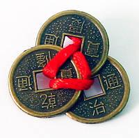 Монеты (3 шт) (2см) в кошелек темные красная ленточка (100 шт/уп)