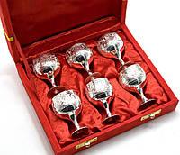 Рюмки бронзовые посеребренные (н-р 6 шт/60мл.)(h-5,5)(18,5х15,5х5,5 см)