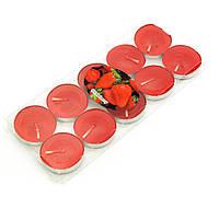 """Свечи """"Чайные"""" красные (набор 10 штук)(7,5х7х1 см)"""