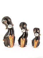 Собаки расписные деревянные (н-р 3 шт) (15х6х3,5 см 12х4х2 см 9х3,5х2,5 см)