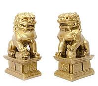 "Собаки Фу пара каменная крошка ""бронза"" (10,5х6х4 см)"