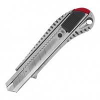 Нож с отломным лезвием 18 мм, с металлической направляющей, противоскользящий корпус INTERTOOL HT-0504