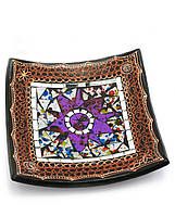 Тарелка терракотовая с мозаикой (19х19х4 см)