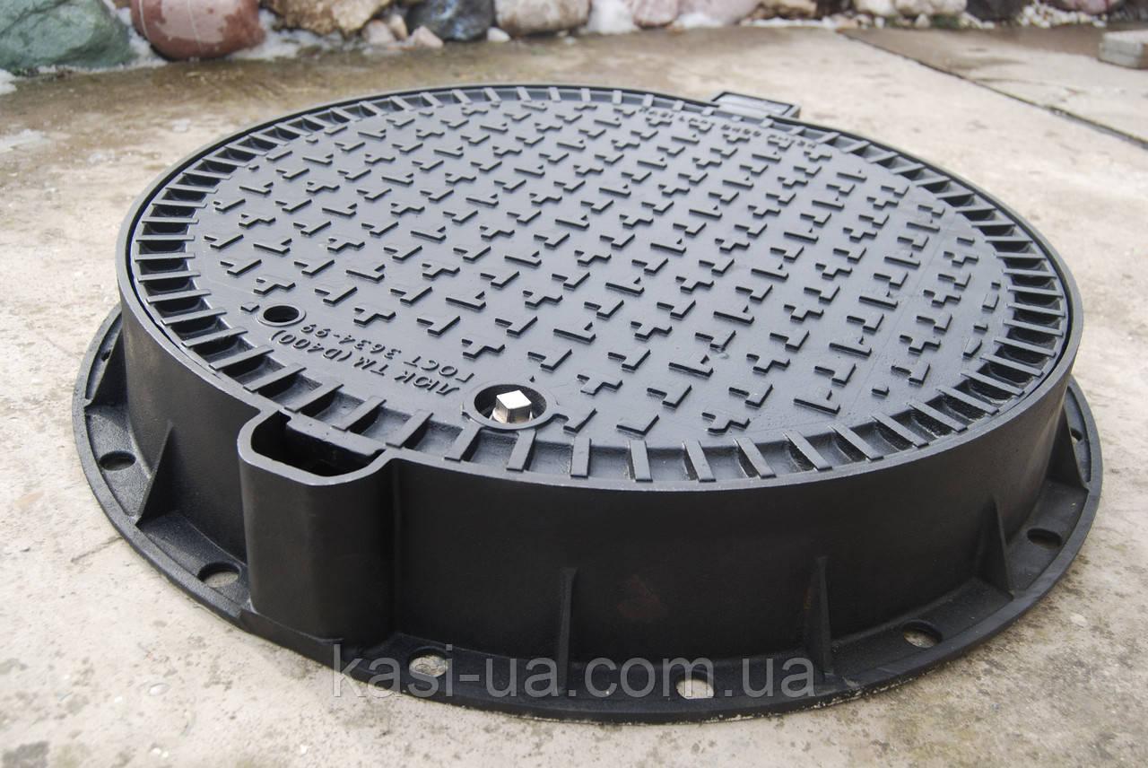Люк чугунный канализационный тяжелый магистральный KASI тип ТМ (D400) KDU81P (Чехия)