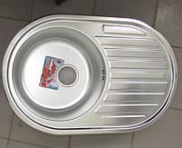 Мойка кухонная HAIBA кепка 77*50 satin толщина 0,8 мм+сифон ф110