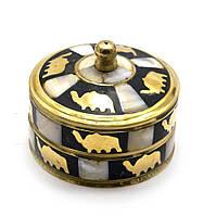 Шкатулка бронзовая с перламутром (d-7,h-5,5 см)