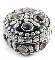 Шкатулка металическая с камнями(d- см h-6 см)