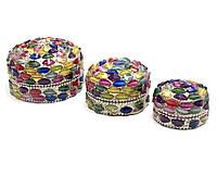 Шкатулки металические (н-р 3 шт) с мозаикой (7,5х7,5х4,5см 6х6х3,5см 5х5х3см)