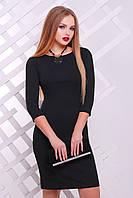 Черное приталенное платье короткий рукав