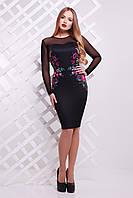 Женское платье по фигуре черное рукав с гипюра приталенное по колено с вышивкой