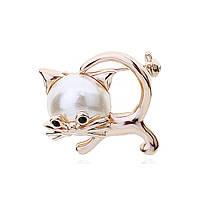 Брошь «Жемчужный котенок», фото 1