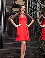 Нарядное  вечернее платье с накидкой Красное