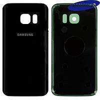 Задняя панель корпуса (крышка аккумулятора) для Samsung Galaxy S7 G930F, черная, оригинал