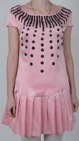 Молодежное платье нежно-розового цвета