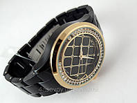 Годинник Alberto Kavalli чорний браслет, біжать кристали, фото 1